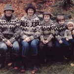 Jonathon Yardley and family each sporting a hand made wool sweater. Lotus created the wool yarn and Gwen knit the sweaters. According to Lotus, they knit about 25 a year for 25 years.