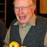 Dr. Bob Norton, from Vachon Island, near Seattle, was our guest at Apple Festival 2011. With over 50 years of experience growing apples, this APPLE ELDER, was helping on the Apple Identification table at Fulford Hall. Photo by Jan Mangan