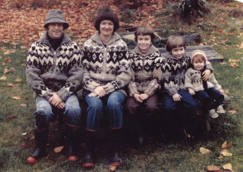 Jonathon and Sue Yardley with family, modelling the Ruckle sweathers of Lotus and Gwen Ruckle